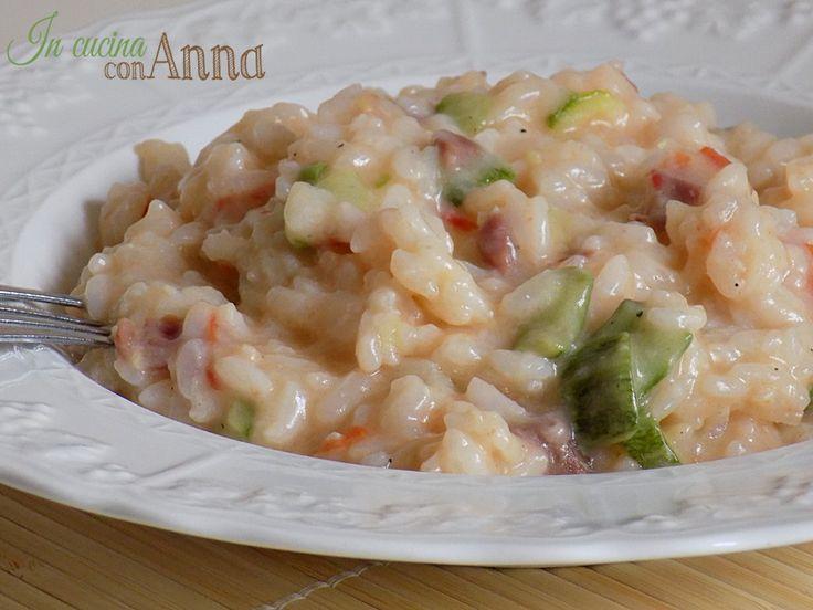 risotto con zucchine e speck