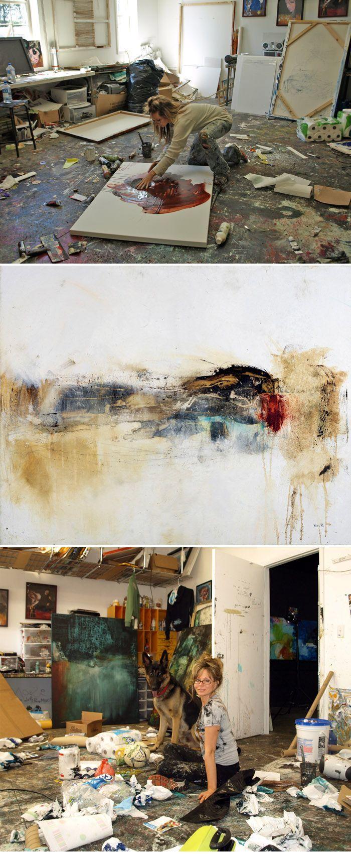 Michel Keck working in her studio