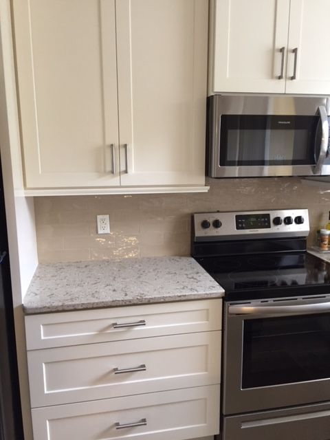 Vest Kitchen After Antique White Shaker Cabinets Cambria