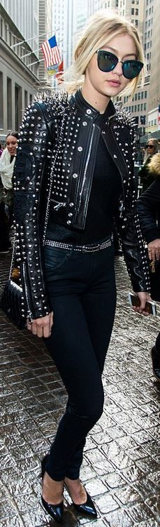 Gigi Hadid, black studded jacket