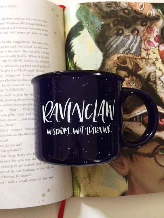 Or yet in wise old Ravenclaw, If youve a ready mind, Where those of wit and learning, Will always find their kind.  This hand-lettered Ravenclaw mug is 13 oz. and cobalt blue with very light speckling. Perfect size for tea or coffee for true Ravenclaw!! Hand wash only to preserve the lettering on the mug.