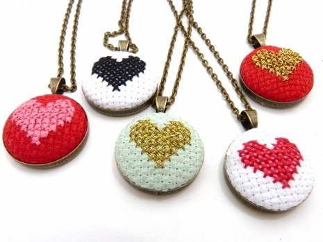 Heart Necklace in Mint and Gold Cross Stitch on Antique Brass Convertible Jewelry Chain | Zelma Rose