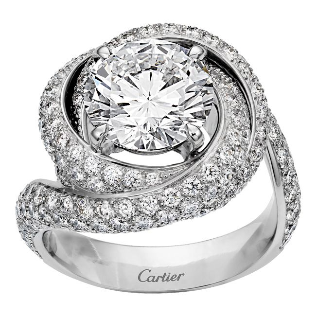 Cartier Platinum: Cartier Trinity Ruban Solitaire Platinum And Diamond Ring