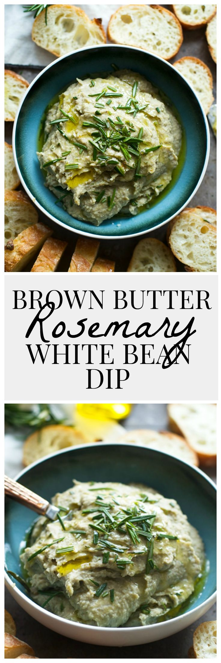 Brown Butter Rosemary White Bean Dip - Super, easy and minimal ingredients!