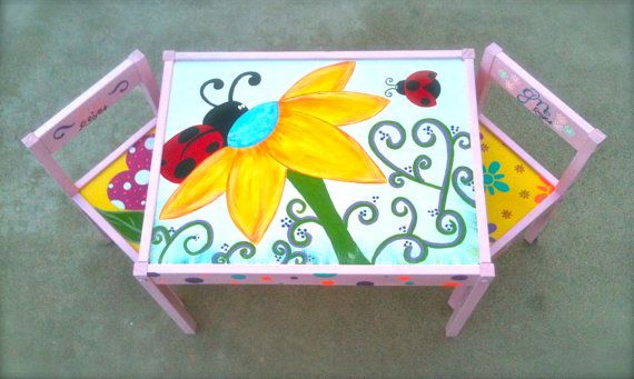 Lady Bug and Flower (Pink Set) Play Table and 2 Chairs for Children 1 and up