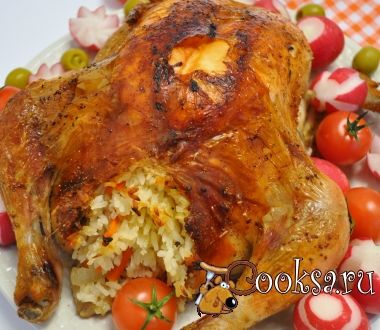 Курица запеченая в рукаве с рисом.