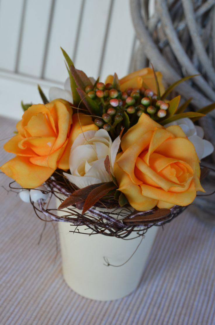 Květináček+Růžičky+orange+Romantický+květináček,výška:15cm,+šířka:12cm