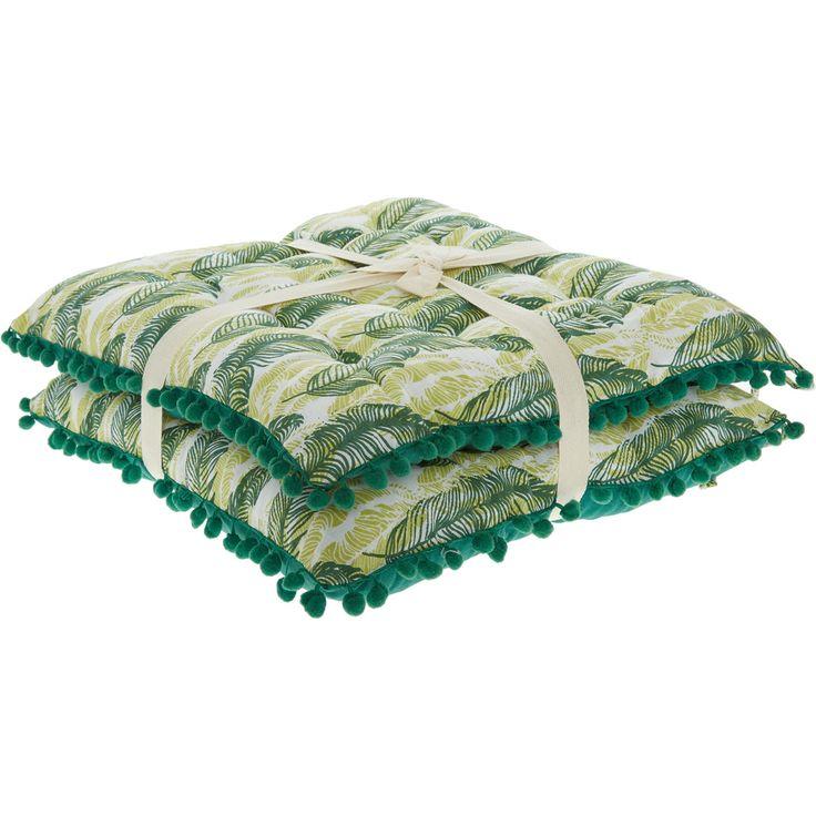 Set Of Two Green Pom Pom Seat Pads 45x45cm - TK Maxx