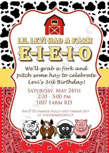 Old MacDonald Farm Birthday Invitation - Printable   Sweetparties - Children's on ArtFire