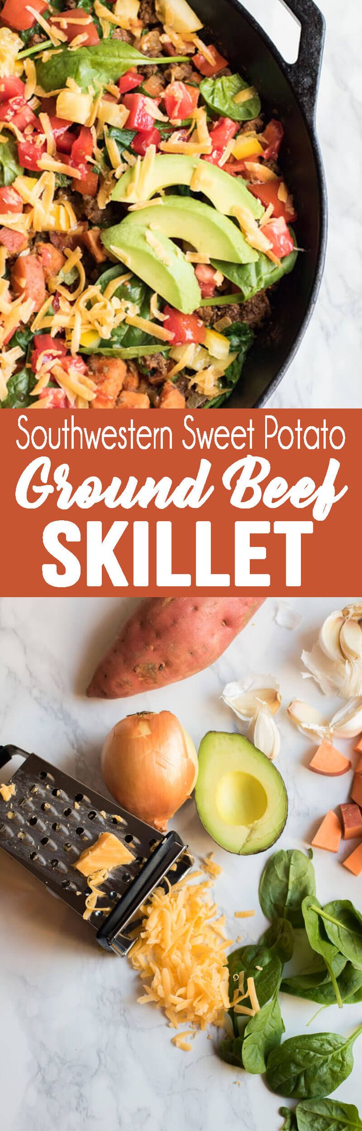 Southwestern Sweet Potato and Ground Beef Skillet via @Rachael Yerkes