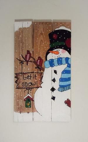 Let it Snow Snowman Winter Pallet Sign by consuelo