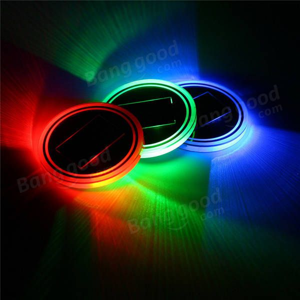 Universal Solar power Cup Holder Bottom Pad LED Light Cover Trim Atmosphere Lamp Sale - Banggood.com