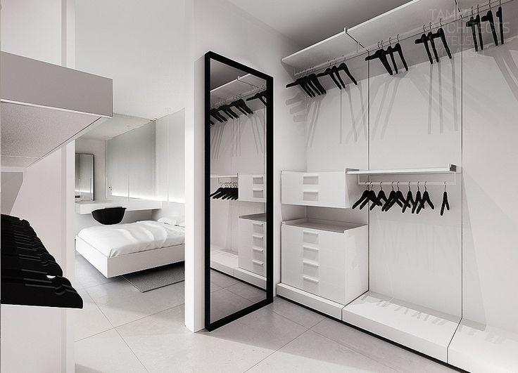 Vestidor blanco y negro, minimalista.