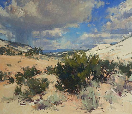 Sandstone, Cedar, Sage and Sky by Jill Carver Oil ~ 26 x 30