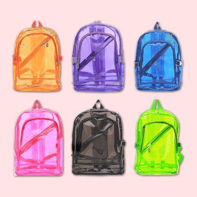 Transparent backpack | black pink purple green blue orange