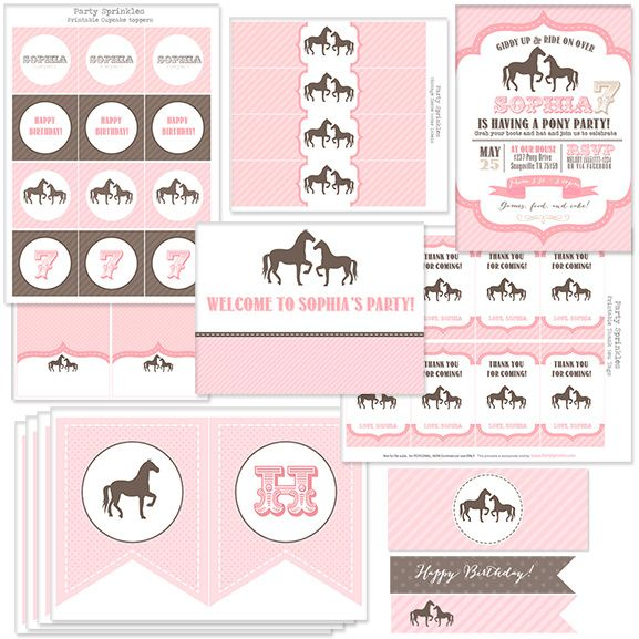 Adorable Pink Vintage Pony party Collection - Printable invitations, party favors, banner + more!  #PartySprinkles
