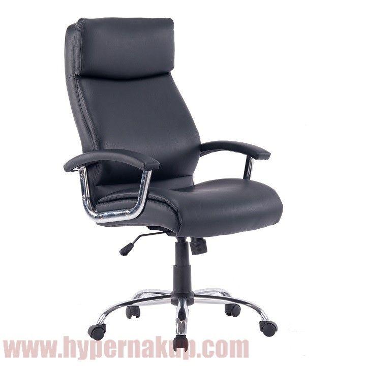 Kancelárske kreslo, čierna ekokoža, KERMIT