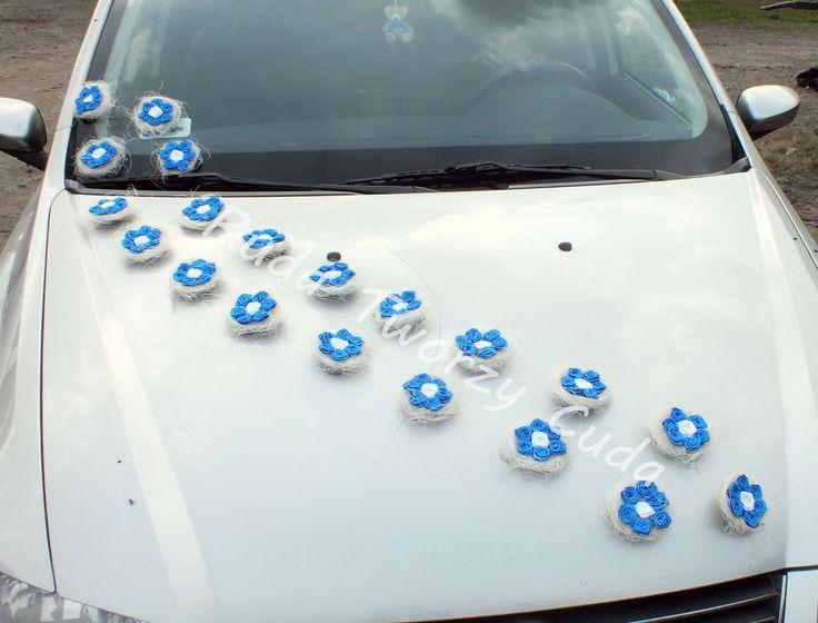 Ślubna dekoracja samochodu rudatworzycuda.cba.pl/ #rękodzieło #ślub #wesele #paramłoda #kwiatki #róże #gniazdka #ozdobasamochodu