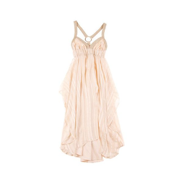 Hussy Symbiosis Dress ($235) ❤ liked on Polyvore featuring dresses, vestidos, pink, gowns, women, below the knee dresses, woven dress, transparent dress, braid dress and sheer pink dress