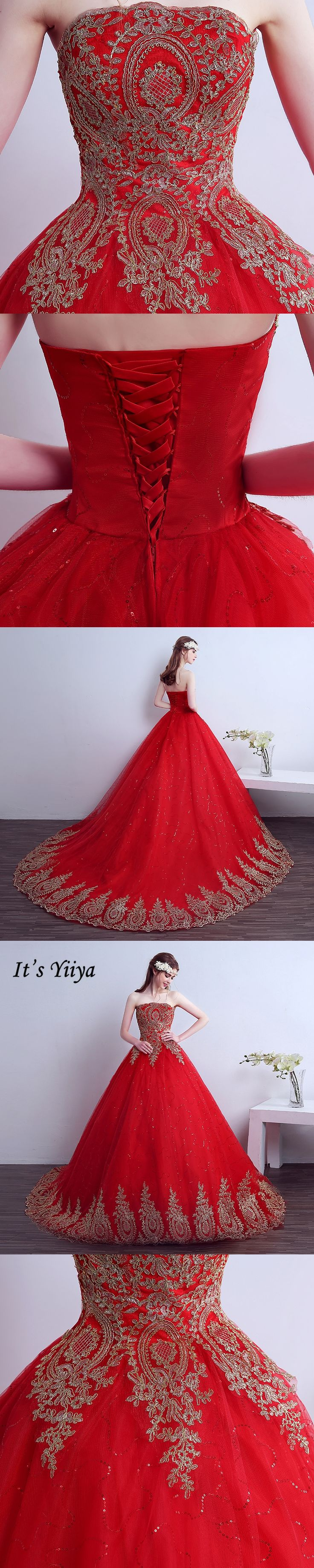 2017 New Style Real Photo Strapless Red Sweep Brush Train Golden Lace Trailing Wedding Dress Custom Made Free Shipping XXN141T