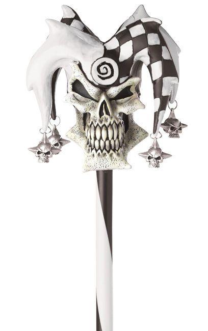 Psycho Jester Evil Black White Joker Halloween Costume Skull Cane