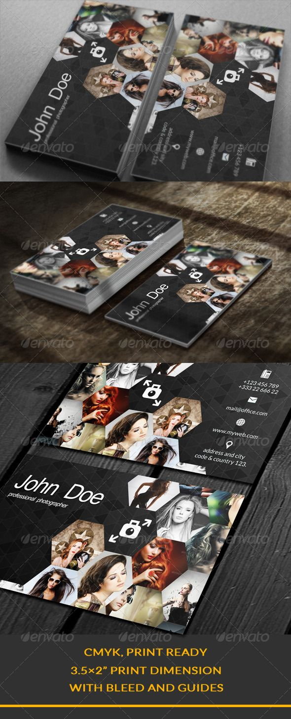 "Creative Business Card  #GraphicRiver        Creative Business Card   You can put 14 photos.  2 Full PSD files.  Easy Editable  Well Organized Layer  CMYK, Print Ready  3.5×2"" Print Dimension  	 Model picture are not included within the final design files.  Thank you 	 You can look at this       Created: 14August13 GraphicsFilesIncluded: PhotoshopPSD Layered: Yes MinimumAdobeCSVersion: CS5 PrintDimensions: 3.5x2.5 Tags: art #business #businesscard #creative #elegance #image #images…"