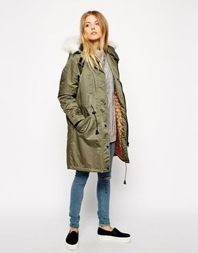 ASOS Parka in Nylon with Contrast Lining & Faux Fur Hood $142