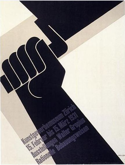 "In this poster, Ernst Keller, a Swiss designer, uses the diagonal to attract the eye and to suggest dynamic activity. ""The printing of the image is by letterpress from linocut blocks overprinted from type in opaque grey."" The fingers gripping the handle of the trowel turn the hand into a fist, a universal symbol in political propaganda to suggest the acclamation and solidarity of a crowd. SUISSE"