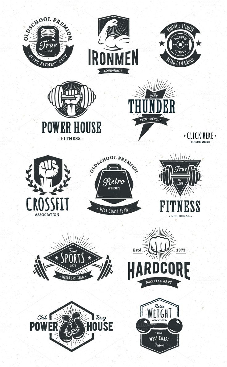 Retro Gym | Logo Templates by Vecster on @creativemarket