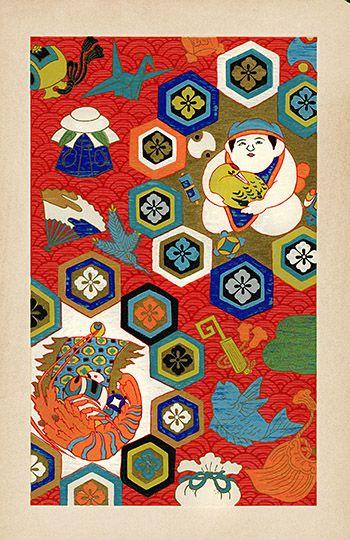 昭和日本の織物デザインの木版画1939