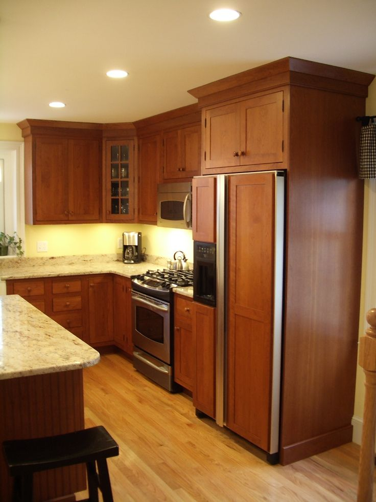 Cherry Full Inset Cabinets Kitchen Cabinets Built In Refrigerator Built In Appliance