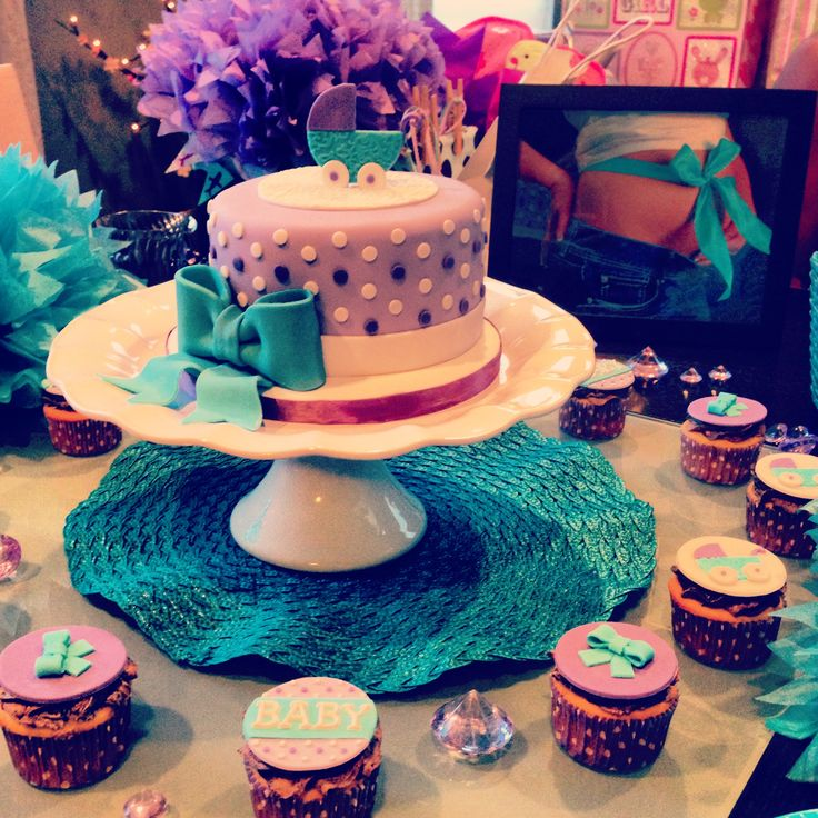 Teal And Purple Baby Shower Table We Made For Megan 8/10/13