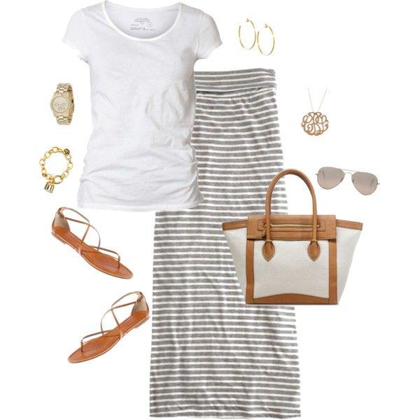 simple maxi, tan flats, big tote, sunglasses, bangles, white t-shirt tee - love