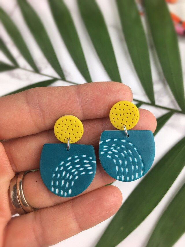 Warm hues – Polymer clay earrings – mustard and teal jewellery – Mustard blue long earrings – Bold funky earrings – Clay earrings