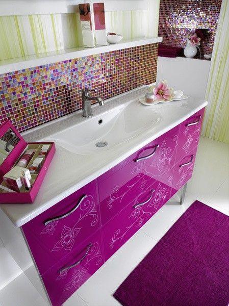 Super cuteBacksplash Tile, Back Splashes, Downstairs Bathroom, Nice Bathroom, Bathroom Designs, Teenagers Bathroom, Kids Bathroom Vanities, Contemporary Bathroom, Girls Bathroom