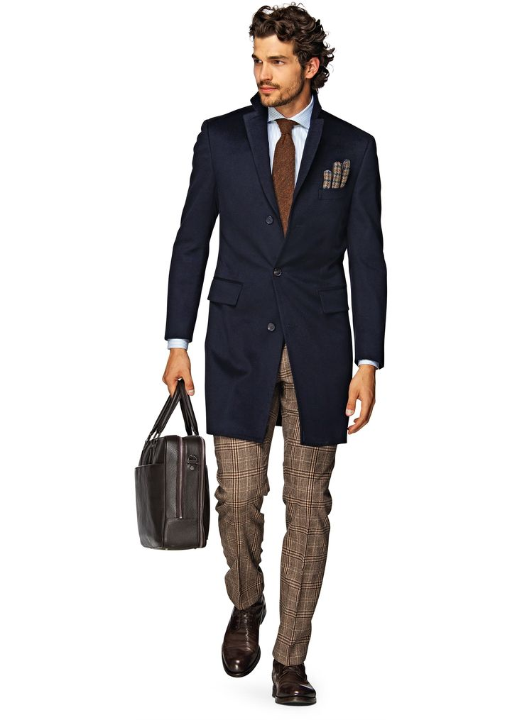Navy Overcoat, Plaid pants, Brown leather briefcase and shoes | Suitsupply Online Store