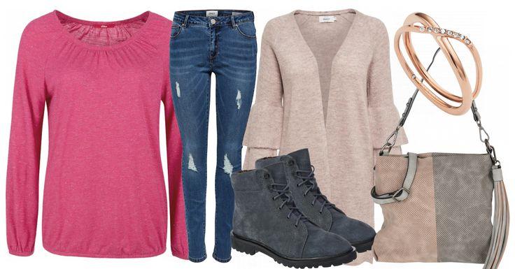 Dieses Freizeit Outfit ist in hellen Farben gehalten und macht gute Laune. Die Outfitkombination besteht aus einem rosafarbenen Cardigan von Only mit Rüschen, einer Bluejeans, ebenfalls von Only, im Used-Look, einem pinken Langarmshirt von s.Oliver, einer rosa-grauen Handtasche und grauen Schnürboots von Esprit. Der Ring gibt dem Look ein super Finish.