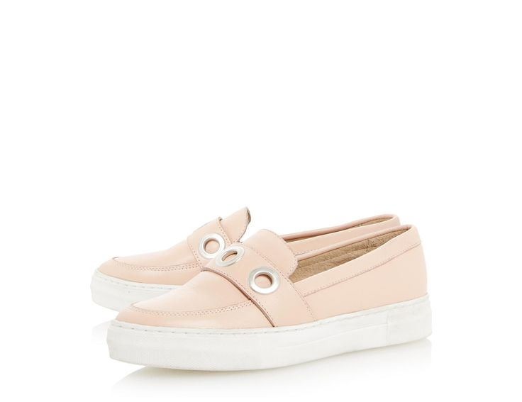 A casual style staple, this everyday slip on trainer is a must-have. It features a saddle detail with metal eyelets and a chunky white sole. Team it with cropped boyfriend jeans and a plain t-shirt for casual chic.
