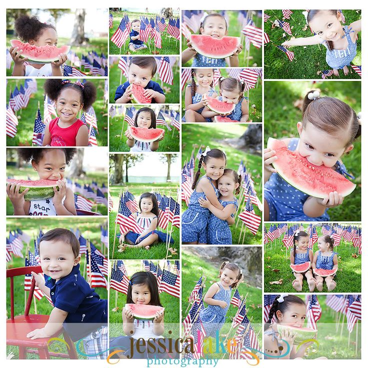 4th of July Photo Shoot >> kids in the park eating watermelon... how cute!!