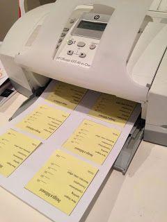 Setting up and printing mini Post-it rubrics