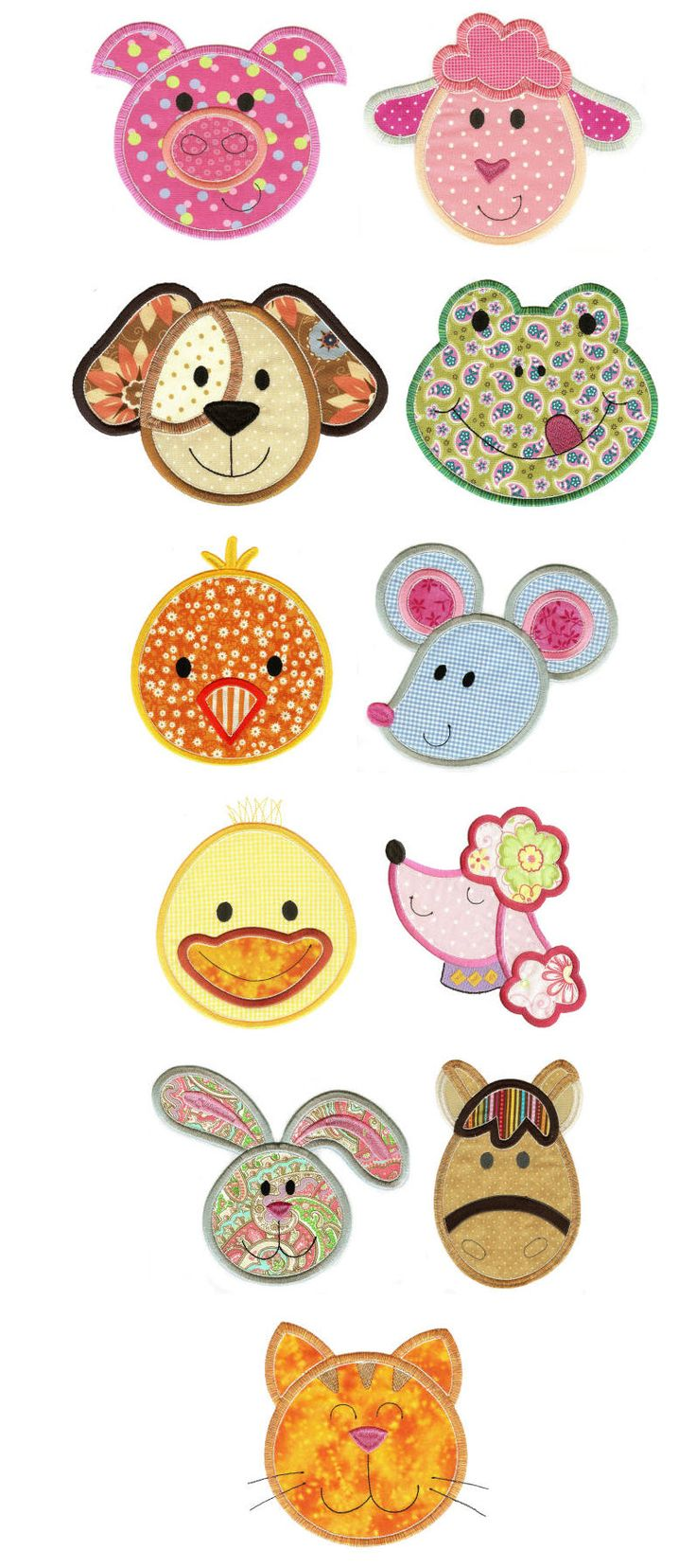 Embroidery | Free Machine Embroidery Designs | Cute Animal Faces Applique Set 1