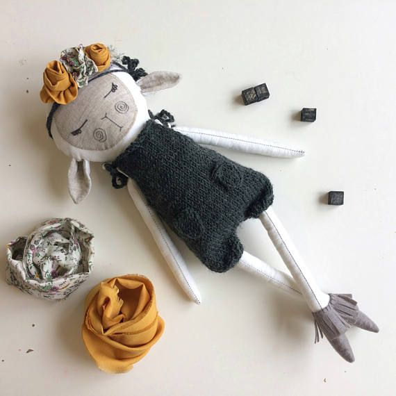 The Sheep doll from mini Wite + Grey collection. The doll is one of a kind, only 1 available!  The toy is made of cotton and flax, filler - non-allergenic hollofayber, face - embroidery floss, the jumpsuit is knitted from wool. Height 16' (40cm).  All clothing is removable.