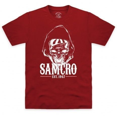 A hooded reaper adorns this new Sons of Anarchy design, which is the popular USA FX Network show about the fictional biker gang SAMCRO. SAMCRO stands for Sons of Anarchy Motorcycle Club Redwood Original. This is an officially licensed product.