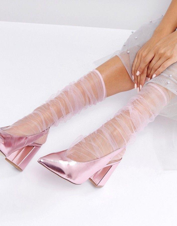 ASOS Mesh Ruched Calf Length Socks {socks and sandals, socks and pumps}