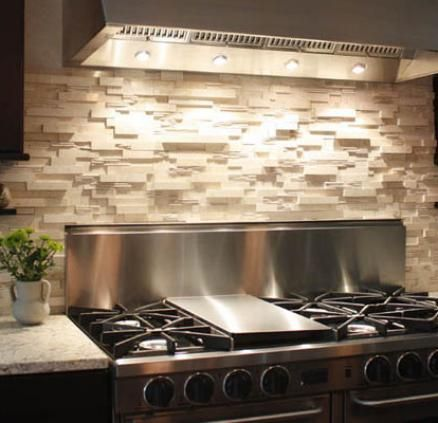 Stack stone ledger panels backsplash tile pinterest stone backsplash stove and slate Backsplash wall tile