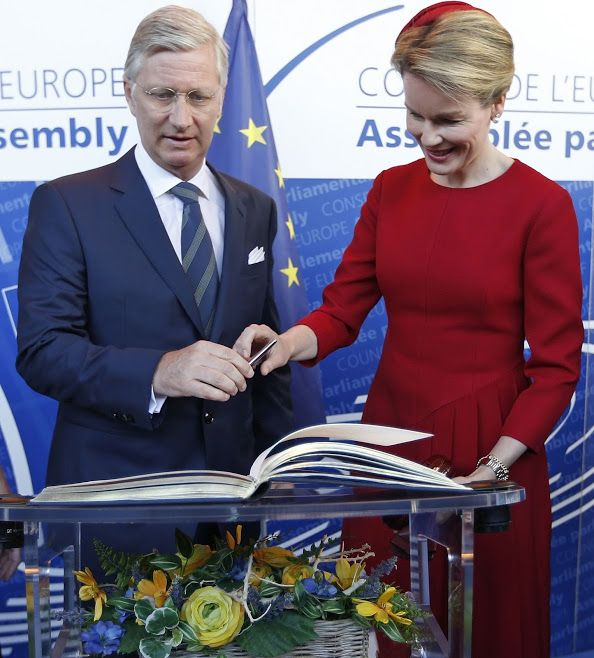 King Philippe of Belgium and Queen Matthilde of Belgium visits the Parliamentary Assembly of the Council of Europe on April 21, 2015 in Strasbourg, France. (The royal couple is in Strasbourg for a one day visit.)