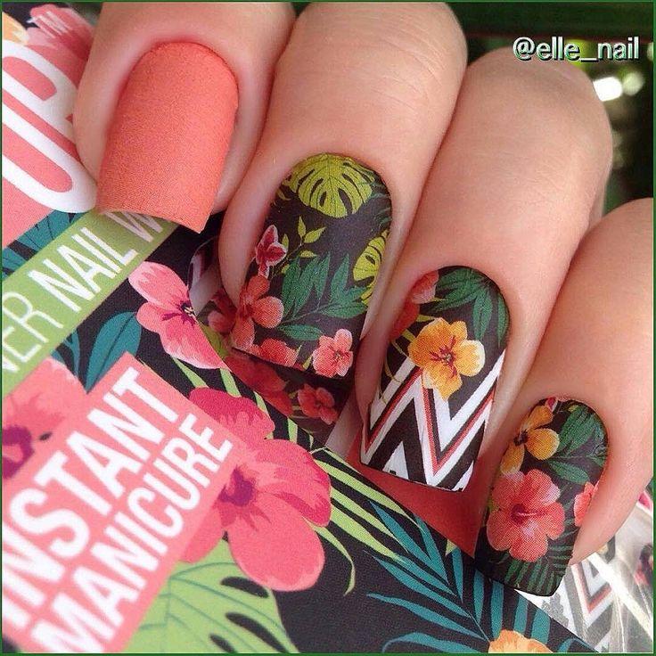 """""""Отзыв Эли @elle_nail  о наклейках ThumbsUp:  Пока стоит жаркая погода, решила первым опробовать тропический дизайн слайдеров #thumbsupnails """"Aloha"""" от…"""""""