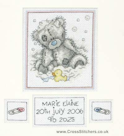 Birth Samplers - Bath Time Birth Sampler - Tatty Teddy Cross Stitch Kit