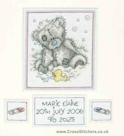 Birth samplers bath time birth sampler tatty teddy for Bathroom cross stitch patterns free