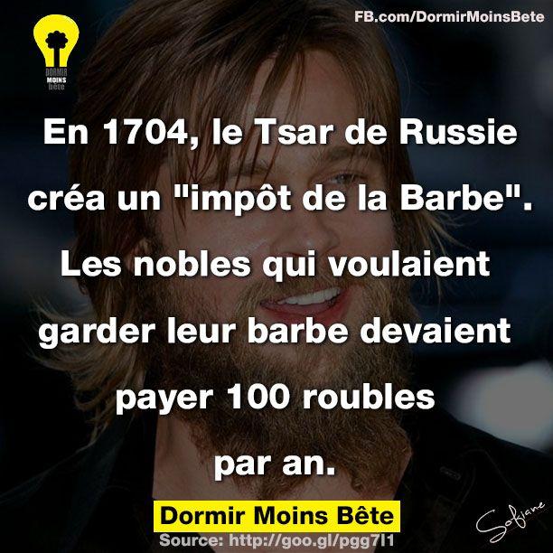 """En 1704, le Tsar de Russie créa un """" impôt de la barbe"""". Les nobles qui voulaient garder leur barbes devaient payer 100 roubles par an."""